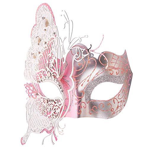 QTJKH Horror Maske Venezianische Maskerade Schöne Metallpartei Maske Hohlen Schmetterling Imitation Kristalle Ball Prom Prinzessin Venezianische Maske @ B