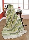 EHC 377 x 250 cm, Baumwolle, gestreift, sehr groß, 4 oder 5-Sitzer-Sofa/Super-King-Size-Bett/Überwurf Lindgrün