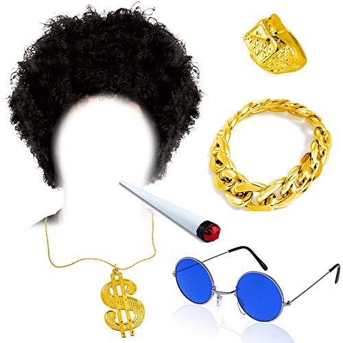 Kostüm Joint Marihuana - German Trendseller® Afro Gangster - Set - Deluxe ┃ Afro Perücke + Brille + Rapper Dollar Kette + Armband + Ring + Joint ┃ Party ┃6 -Teiliges Set