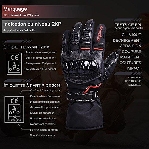 Motorradhandschuhe Herren, Atshark Motorrad Handschuhe Wasserdicht Touchscreen Handschuhe 2KP Warm Winterhandschuhe Kälteschutz Rutschfest Fahrradhandschuhe Herren Damen für Skifahren Wintersport - 5