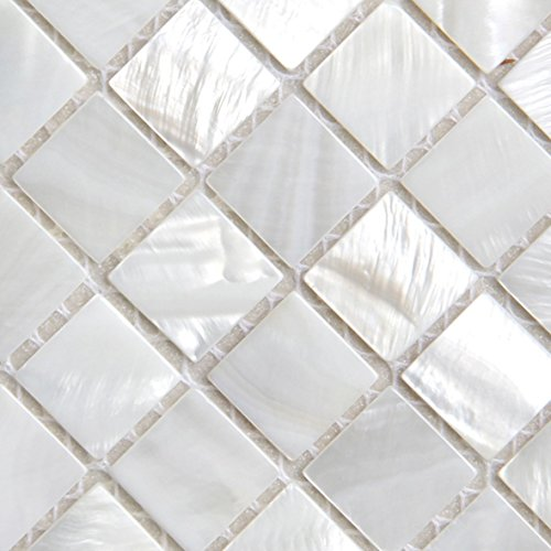 Mother of Pearl Mosaic Tiles River Bed Nature Pearl Shell Mosaic Square White