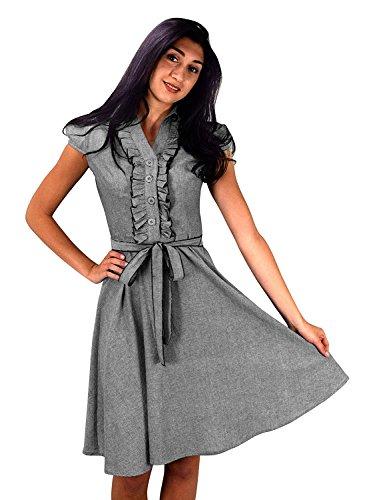 dcd669ee752 Peach Couture Damen Elegant 100% Baumwolle Kurze Ärmel Vintage Jahrgang  A-Linie Cocktailkleid Fit ...