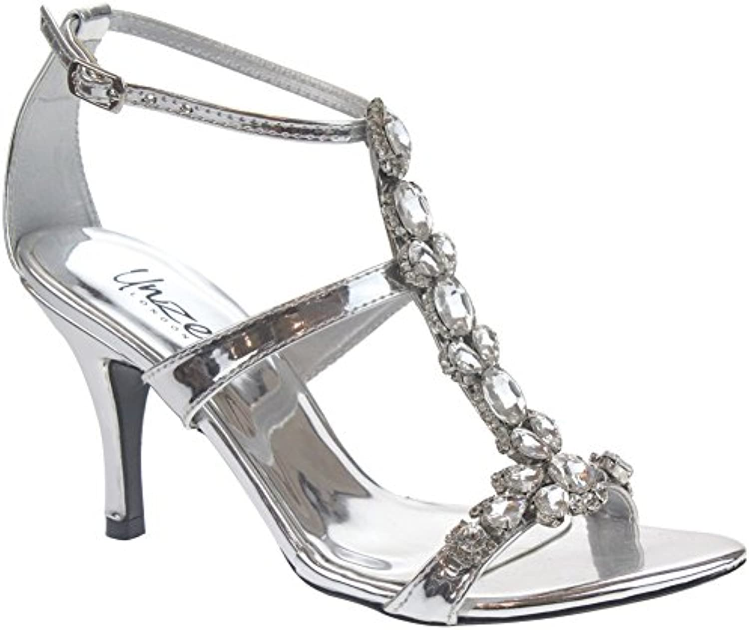 c66006676cc Unze Women KYRA Diamond Encrusted Party Wedding Back B07CPYB27Q Cross UK  Over Ankle Strap Back Counter Heel Sandals UK Size 3-8 B07CPYB27Q Parent  0748219