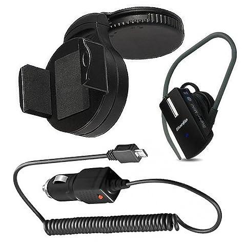 3in1 Set Kfz Halterung Halter Autohalterung + Bluetooth Headset + Kfz Ladekabel für Samsung Galaxy S4 Mini Duos i9192