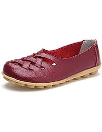 Mocasines de Cuero Mujer Loafers Casual Zapatos de Conducción Cómodos Zapatillas ...
