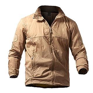 TACVASEN Casual Jackets for Men Summer Lightweight Waterproof Jacket Quick Dry Raincoat Packable Hooded Rain Jacket Khaki