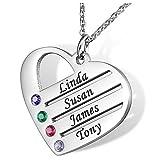 Bokning Collar de Nombre Personalizado con Colgante de corazón Amor de Familia Amistad con 4 Nombres y Birthstone