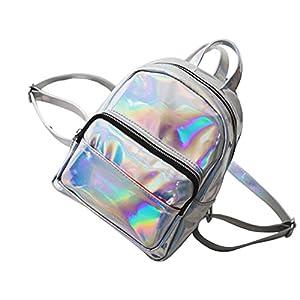 Tinksky – Mochila para niña con Holograma láser, Estilo Casual, Mini Holograma, Bolso de Hombro para Viaje (Plata)