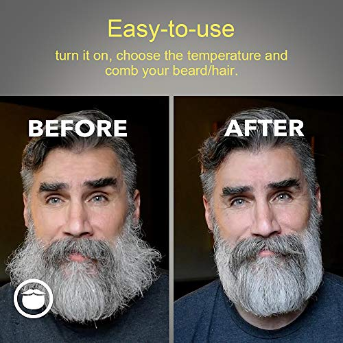 ANLAN Cepillo Alisador de Barba Plancha de Pelo Flequillo Eléctrico Profesional Peine de Peluquería Multifuncional Cepillo para Hombre Mujer