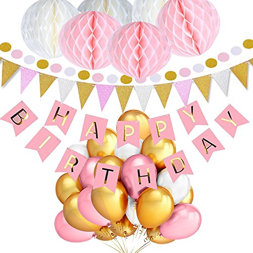 TopDeko Geburtstag Dekoration Wabenbälle Große Geperlte Ballons, 9.8ft, Rosa, 30pcs