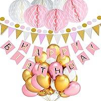 TopDeko Geburtstagsdeko Mädchen und Jungen, Geburtstag Dekoration Rosa und Blau