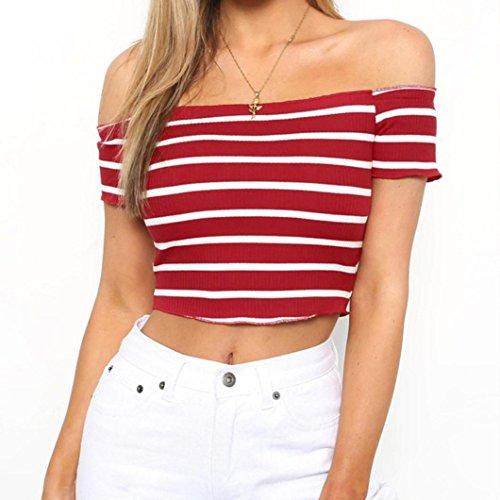AmazingDays Femme Chemisiers T-Shirts Tops Sweats Blouses Chemise à Manches Courtes RayéEs Chemisiers T-Shirt red