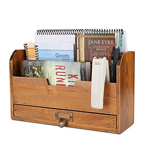 Flexzion 3 Tier Wooden Desk Organizer - Country Rustic Compartments Slot File Tray Pencil Sorter Shelf Holder Supplies Rack Accessories Set with Storage Drawer for Desktop Tabletop Office Home 1 Brow