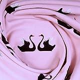 Stoff Baumwolle Elastan Single Jersey rosa Schwan weich