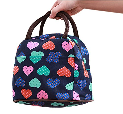 Nero impermeabile carino Tote Love Heart pranzo portavivande lunch organizer lunch Holder - Cuore Canvas Tote
