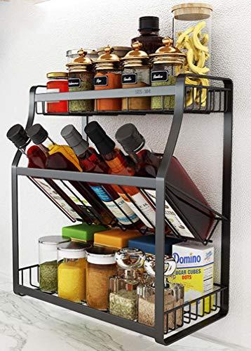 Mslydyg scaffale 3 spice rack, scaffale per ripiano organizer per ripostiglio cucina, stoviglie in acciaio inox rack stoviglie per montaggio a parete, installazione a pavimento opzionale,b