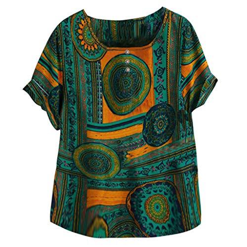 Crazboy Damen Übergröße Kurzarm Bettwäsche aus Baumwolle O-Ausschnitt Drucken T-Shirt Bluse Oben(XX-Large,Grün) -