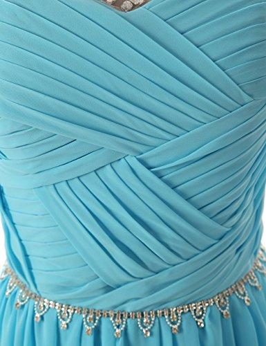 CoutureBridal® Robe Maxi de soirée bal en chiffon perlé sans Manches Blanc