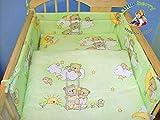 Blueberryshop 2Piece Baby culla piumino e federa set di biancheria da letto, 120cm di lunghezza x 90cm di larghezza, verde orso su scaletta