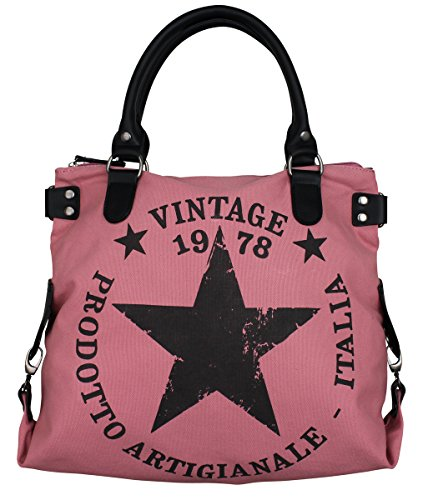 LUXUS VINTAGE STERN DAMEN TASCHE STAR STOFFTASCHE CANVAS SHOPPER LEDER HANDTASCHE Rosa (Star Canvas)