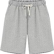 Gooket Women's Elastic Waist Soft Jersey Knit Bermuda Shorts with Drawst