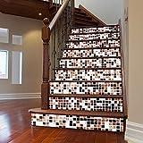 XXBFDT imperméable Auto-adhésif d'escaliers -Autocollant Amovible de Couleur créative 3D Autocollant de Porte carrée Autocollant Amovible