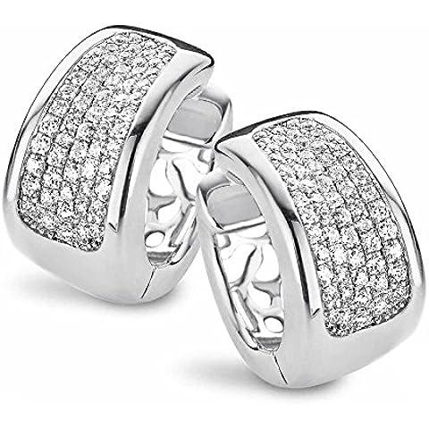 Velini, EA6121-Orecchini a cerchio da donna, in argento sterling 925, con pavé centrale di zirconi AAA, risplende come diamanti