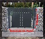 Gartentor T-Blech Pforte Hoftor Einfahrtstor Tür Tor Törchen pulverbeschichtet grau 125cm x 125cm