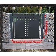 Gartentor T-Blech Pforte Hoftor Einfahrtstor Tür Tor Törchen pulverbeschichtet grau 100cm x 100cm