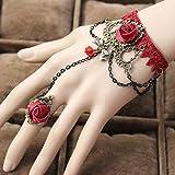 MHOOOA 1 Stücke Mode Stil Frauen Handgemachte Rote Rose Spitze Blume Drop Armband Slave Set Lolita Gothic Ball Retro Braut