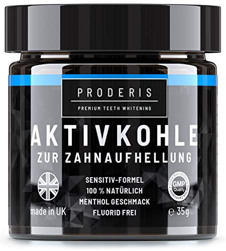 Proderis® Aktivkohle Pulver | 100{e41dcf1836e17d50482de44ccb7e09b44f7f1012896b64fb99fcab1f0239aa43} Natürliche Zahnaufhellung | Bleaching Teeth Whitening | Weiße Zähne | Vegan | Zahnpasta | Activated Charcoal Powder | Sensitiv Formel