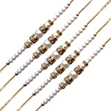 #9: Milan Jewellers Multicolor Studded Pearl Combo Of 5 Rakhis For Brother(Men/Boys)
