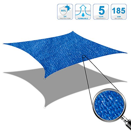 Cool area tenda a vela quadrato 5 x 5 metri protezione raggi uv, resistente e traspirante (vari colori e misure) (blu)