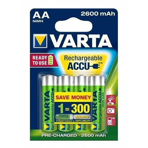 Varta Power Batterie rechargeable Ready2Use Mignon AA blister de 4 batteries 2600mAh, 1,2V, NiMH [ Batterie / rechargeables ]
