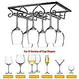 JoyFan portabottiglie da Vino Nero sotto larmadio portabottiglie portabicchieri risparmiando Spazio appendi calici per Cucina da Bar 30x22 5 cm