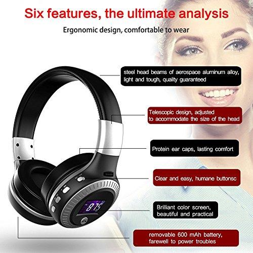 Longteng Zealot Wireless Bluetooth Headset Noise Cancellation 3D Stereo LCD Kopfhörer. Schwarz - 8