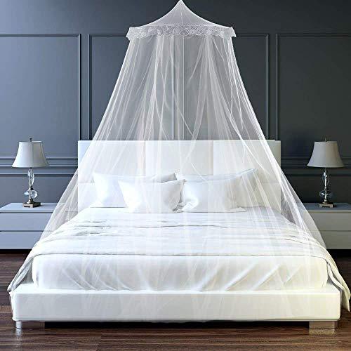 Zanzariera, tenda da letto singola, letto matrimoniale, letto queen size e letto king size, bianco, set completoin Rete, con zanzariera, Facile e Veloce da installare