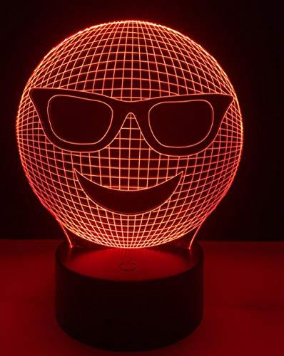 Dekorative beleuchtung kabel 3d led cool emoji tragen sonnenbrille schlafzimmer nachtlicht multicolor tischlampe freunde geschenke