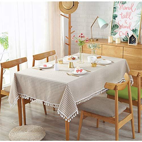 SONGHJ Einfache Tischdecke Einfache gestreifte Tischdecke aus Baumwolle und Leinen mit Fransen Dekoration Tischdecken C 70x70cm (Tischdecke Runde Gestreifte Marine)