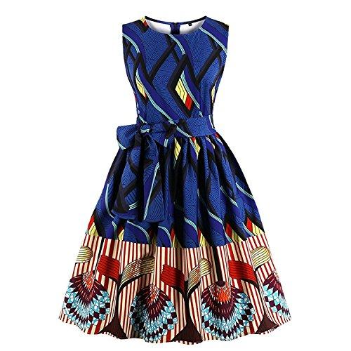 Ladyjiao Damen 50er Streifen Ethnischen afrikanischen Print Vintage Abend Kleider Rockabilly Cocktail Partykleid Große Größen