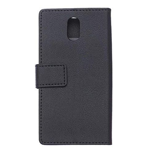 Solid Color Kas Textur Muster Leder Schutzhülle Fall Horizontal Flip Stand Case mit Karten Slots für Lenovo P1M ( Color : Purple , Size : Lenovo P1M ) Black