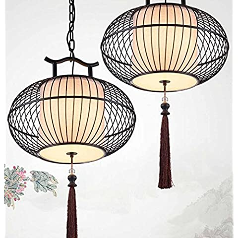 SSBY Nueva lámpara China sola personalidad creativa, baño de hierro forjado jaula de pájaro oro negro tubo pies araña de restaurante balcón