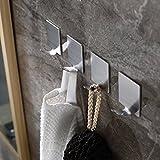 be fancy! 4 Premium Bad Haken aus Edelstahl - Handtuchhalter für Bad, Küche - ohne Bohren - Handtuchhaken, Geschirrtuchhalter Laura - 4.5 cm, im Set