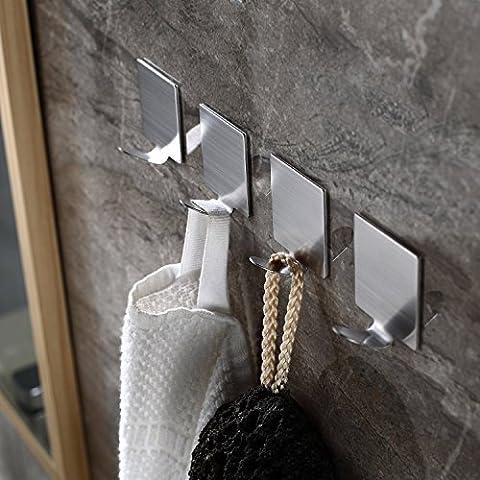 be fancy! 4 Premium Handtuchhaken Laura - selbstklebend - Handtuchhalter, Geschirrtuchhalter - aus Edelstahl, ohne Bohren, 4.5 cm, im