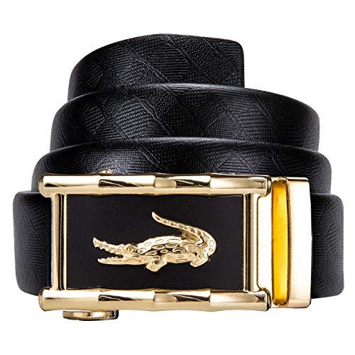 Dubulle - Cinturón de piel para hombre, color negro, con trinquete y hebilla automática, correa deslizante de lujo Dorado Cinturón de cocodrilo A-oro cintura 38/43''/Cinturon 51''