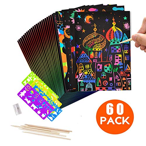 LATERN 60Pcs Kratzbilder Sets für Kinder, 50 Blatt Regenbogen Scratch Pape Regenbogen Kunst Doodle Pad Magic Scratch Notes Karton mit 5Pcs Holz Stylus, 4Pcs Grafik-Vorlage, ein Anspitzer -