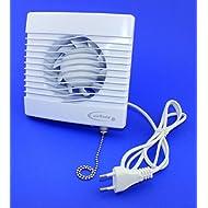 Ventilatore da bagno, con interruttore a tirette ventilatore per bagno ventilatore soffitto Ventola Bianco Front Ø 100mm 10cm PrimPS ventilatore da cucina da parete
