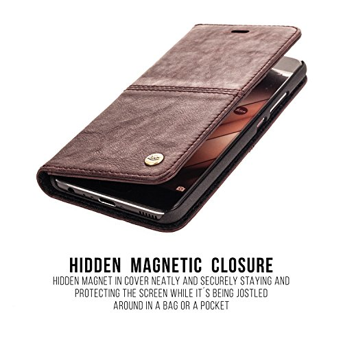 "QIOTTI iPhone 7 (4.7"") Leather Case incl. TEMPERED GLASS H9 HD+ Premium Slim Leather Stand Case / Cover Wallet including nice Giftbox and dustbag - VINTAGE BROWN LILA"