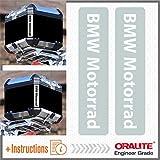 2pcs RIFRANGENTI ADESIVI BMW Motorrad R 1200 1150 F 800 650 F700 GS A R1200GS R1200 Touratech Motorcycle Aluminium Panniers Top Case (Bianco/Grigio)