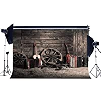 EdCott Vinyl 7X5FT Old Barn Backdrop Western Farmhouse Backdrops Vintage Wheel Guiter Band Straw Wood Board Horseshoe Cowboy Boots Photography Background for Autumn Harvest Photo Studio Props HL07